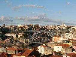 distant view of a bridge among a city in portugal