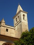 View of the bell tower of the church in Manacor