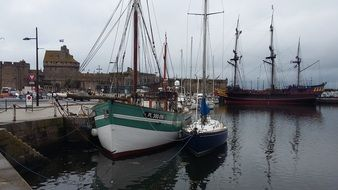 Ships in the port of Brittany.