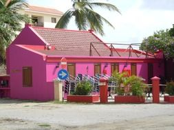 house with pink walls