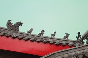 Sculptures on the wall of a building in Shandong