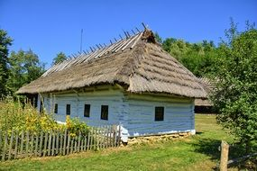House under a thatched roof in an open-air museum
