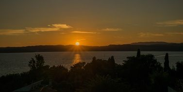sunset on garda lake in italy