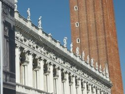 sculptures on a historic building in Venice