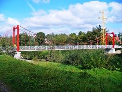 bridge with steel frame over the river