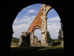 church ruines arched view