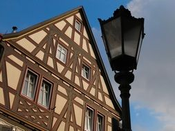 lantern before timber framed house, germany, heidelberg