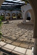 marble mosaic of courtyard in Greece