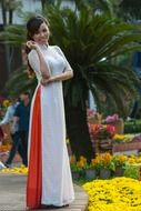 Vietnamese woman in a long white dress