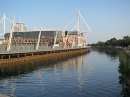 stadium on the river in Cardiff
