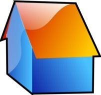 clipart of the abstract blue house with orange roof