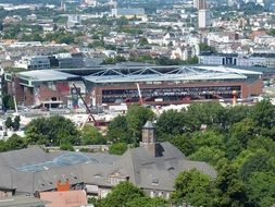 View from the heights to the football stadium in Hamburg