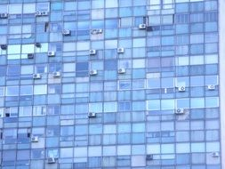 blue windows of skyscraper