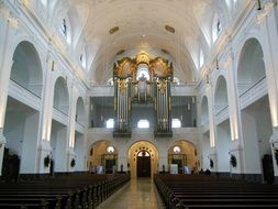 White interior of the church in Bavaria