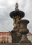 fountain with golden statues