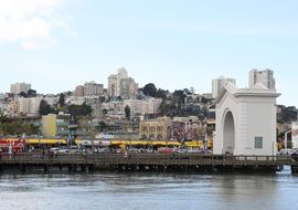 view of old city from water, usa, california, san francisco