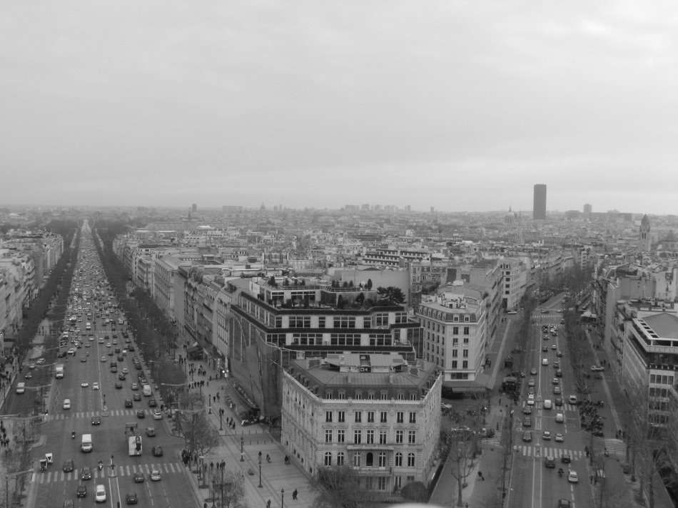 panoramic view of modern Paris in black and white image