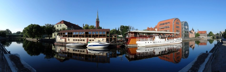 panoramic view of canal, poland, bydgoszcz