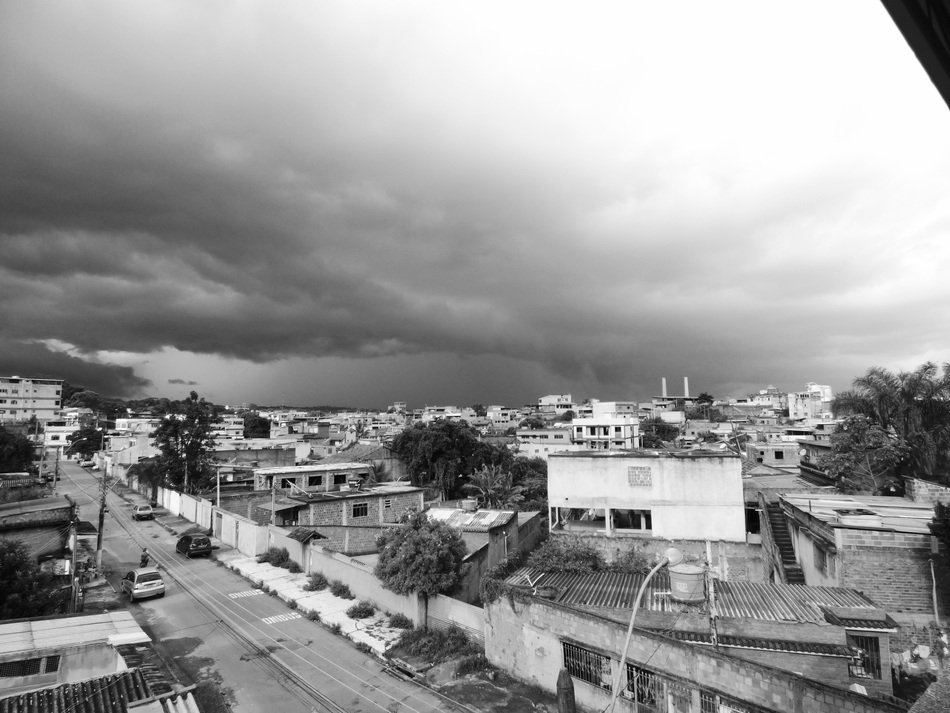 panoramic city view in brazil, black and white