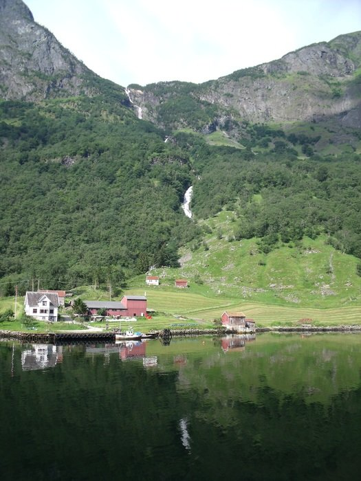 panorama of a fjord village and mountains in Norway