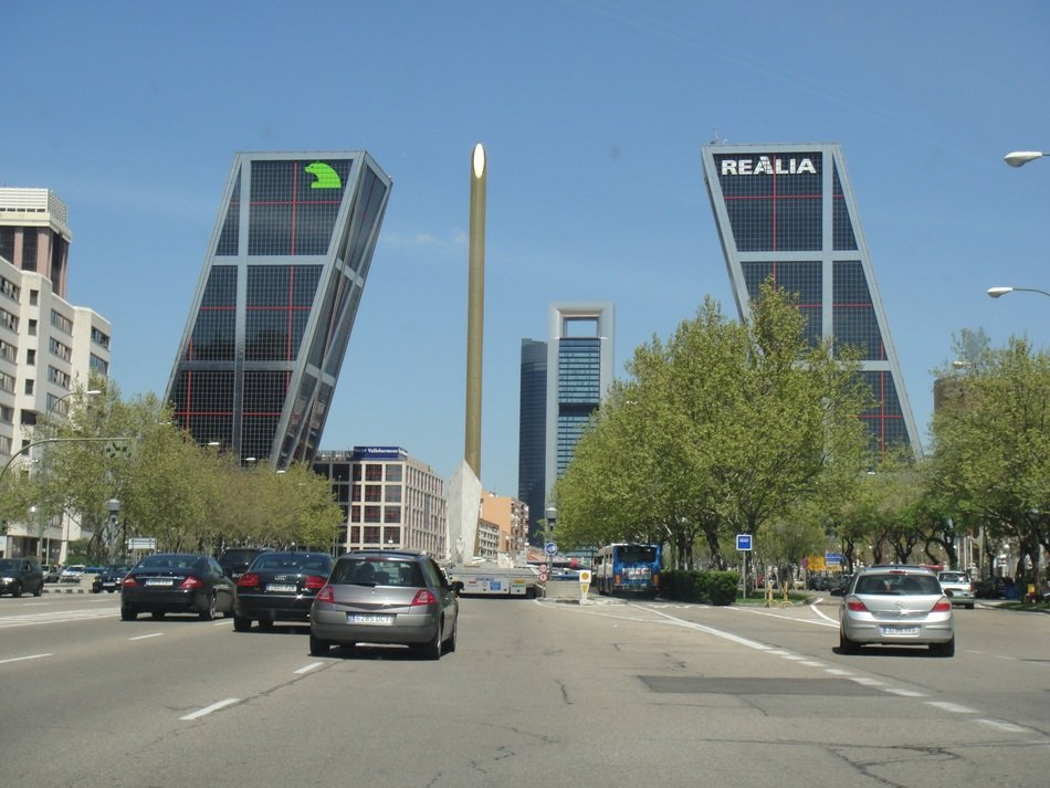 view of the falling towers in madrid