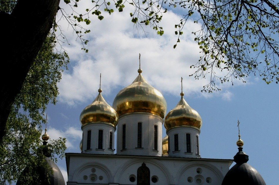 Russian church with golden domes