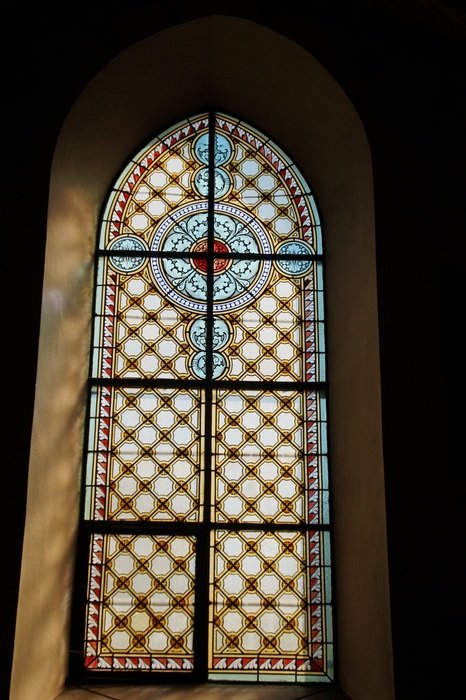 colorful church window stained glass