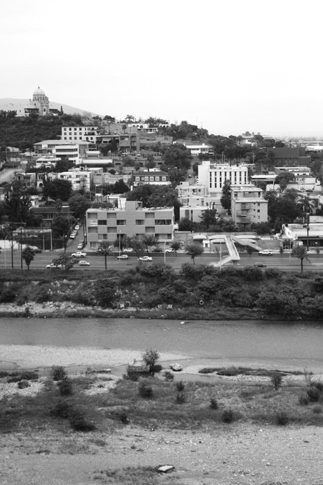 black and white panorama of the city of monterrey