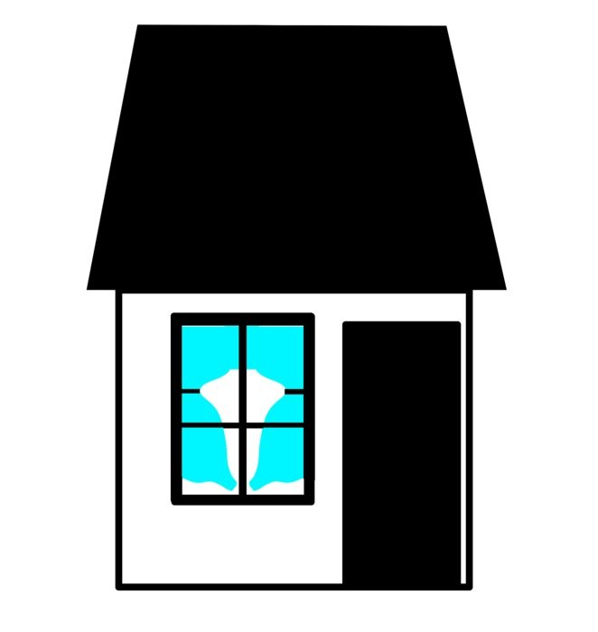 drawing house with window and blue curtains