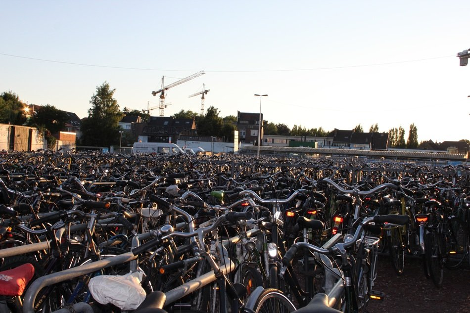 parking lot of bicycles