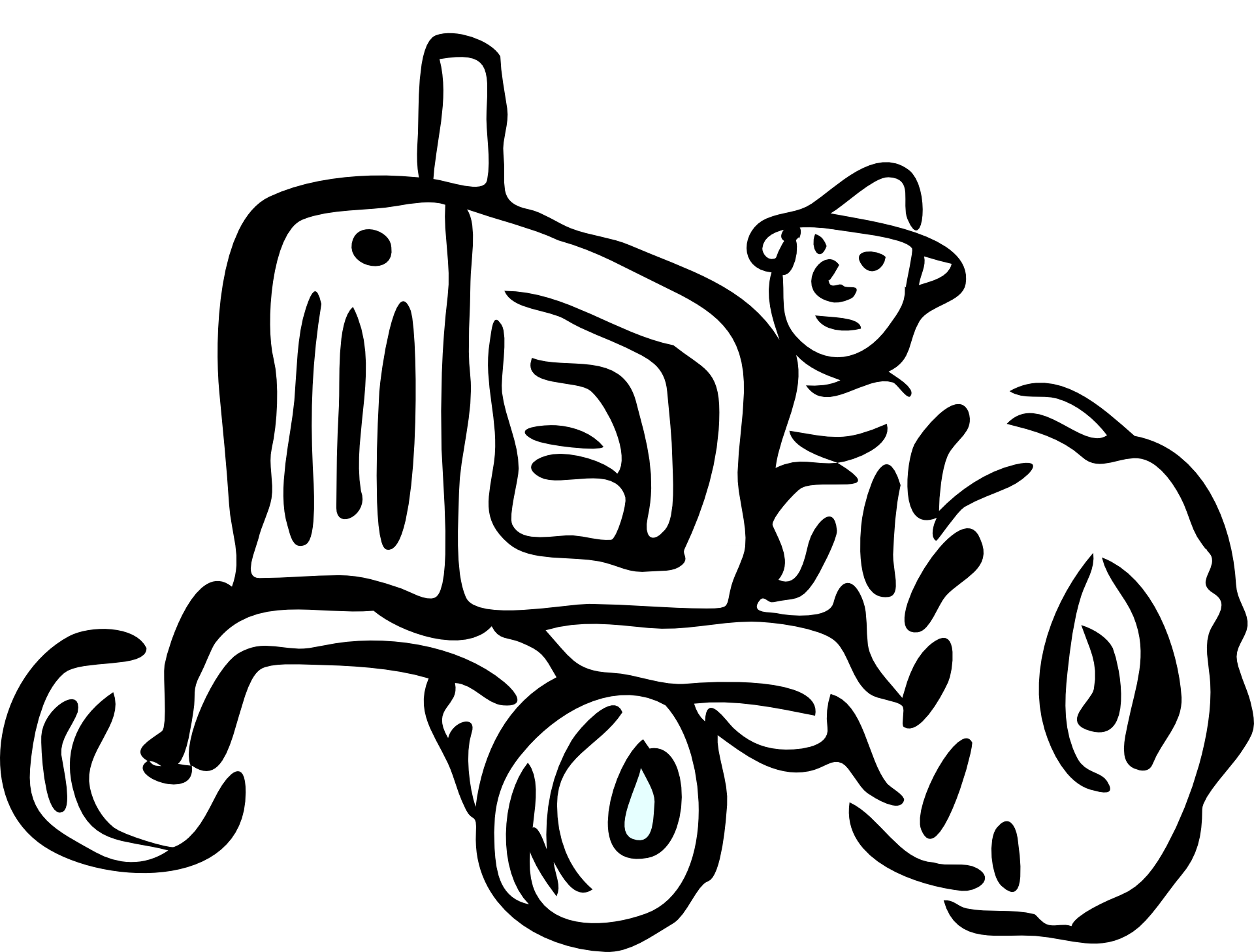 Tractor With Farmer Funny Sketch Free Image