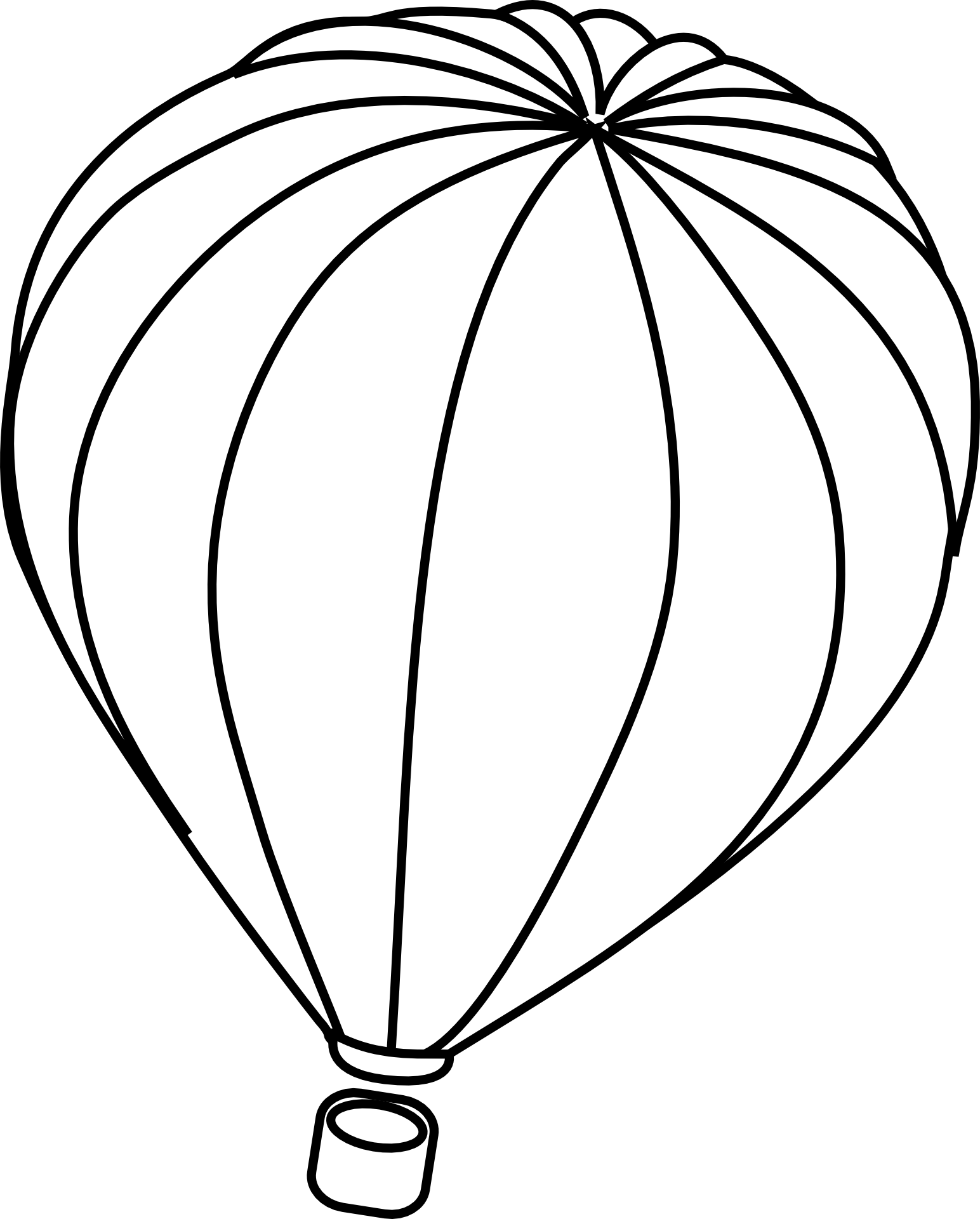 Hot Air Balloon Flying Outline Sketch Free Image