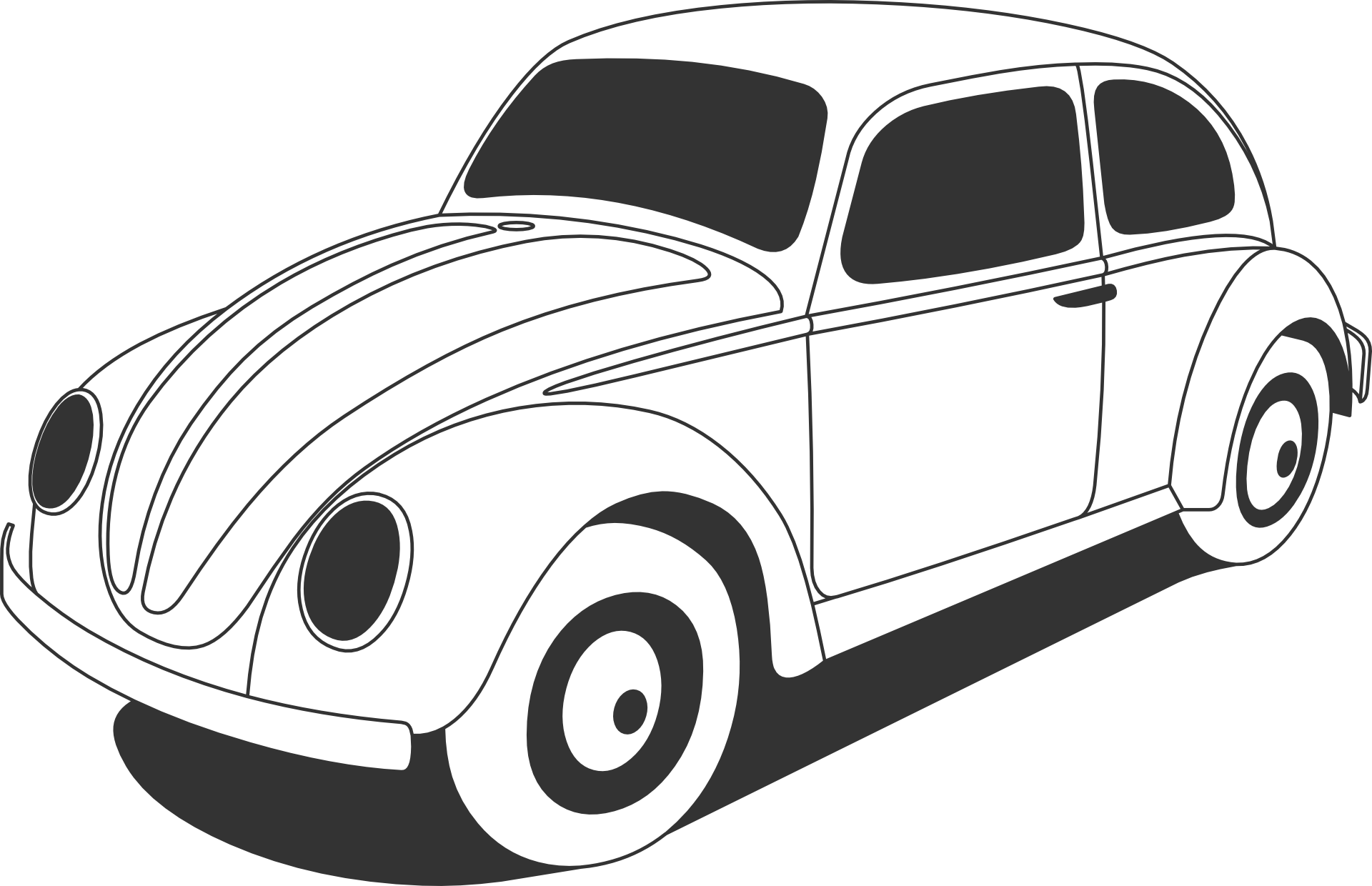 Drawing Of A White Volkswagen Beetle Free Image