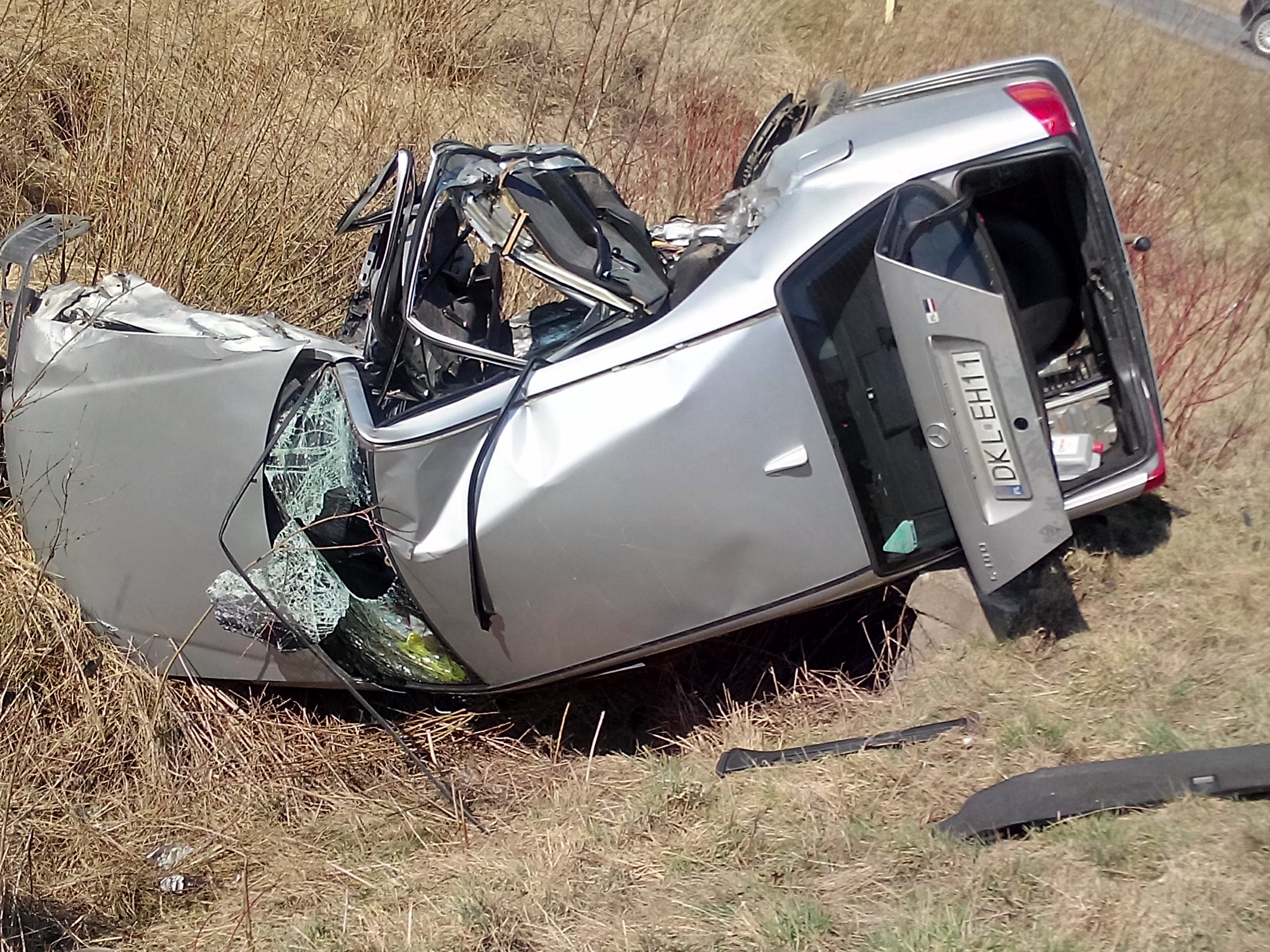 Car in a ditch after an accident free image