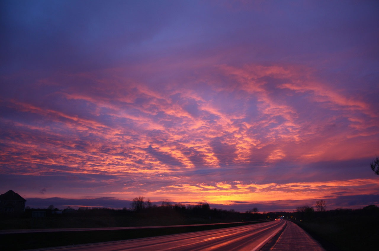 Sunset Purple Sky With Pink Clouds Above Road Free Image