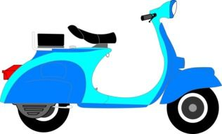 blue scooter on a white background
