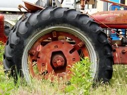 wheel of a tractor