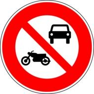 no motor vehicles sign drawing