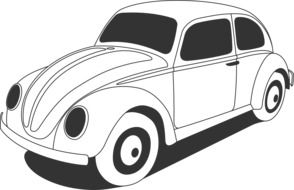 drawing of a white volkswagen beetle