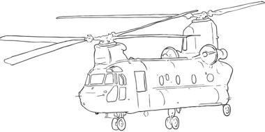 drawing of a military helicopter
