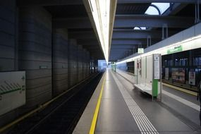 perspective of platform in metro station, austria, vienna
