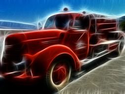 fire truck artwork drawing