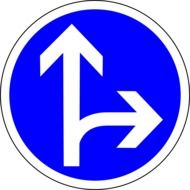 go straight or right, blue and white traffic sign