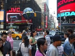 crowded Times Square in New York