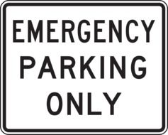 emergency parking only sign drawing