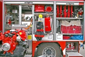 equipment in the fire truck