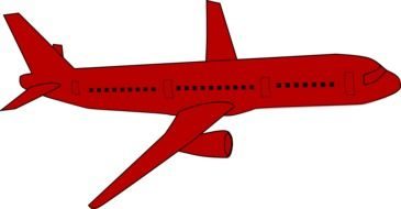 airplane jet plane red drawing