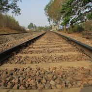 old railway track perspective, india, dharwad