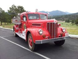 red antique fire truck