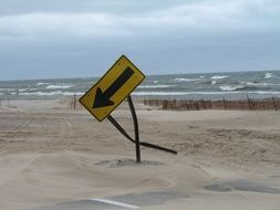 picture of falling street sgn on lake michigan coast